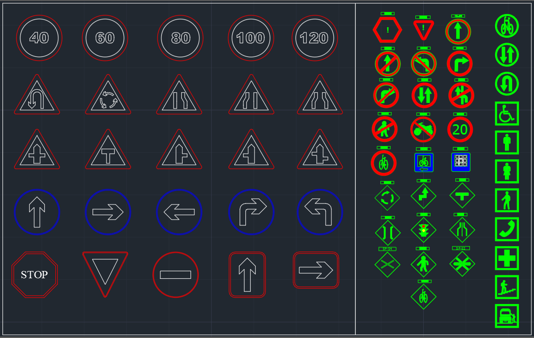 Traffic And Road Signs Free Cad Block And Autocad Drawing