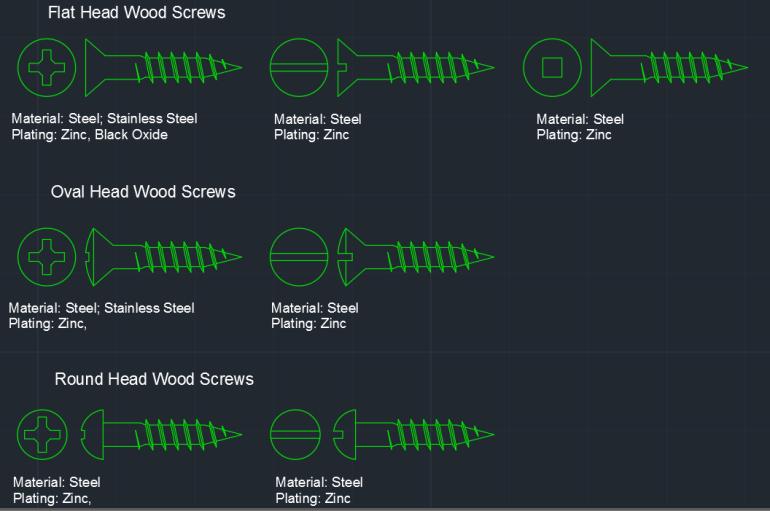 Wood Screws Autocad Free Cad Block Symbol And Cad Drawing