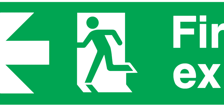 arrow left running man left fire exit