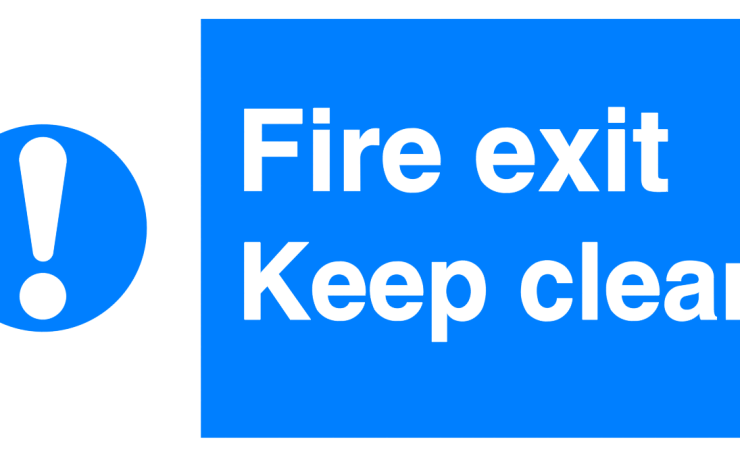 exclamation fire exit keep clear