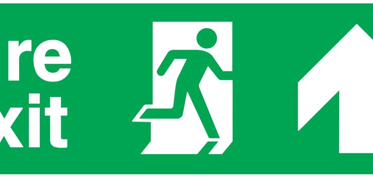fire exit running man right arrow up