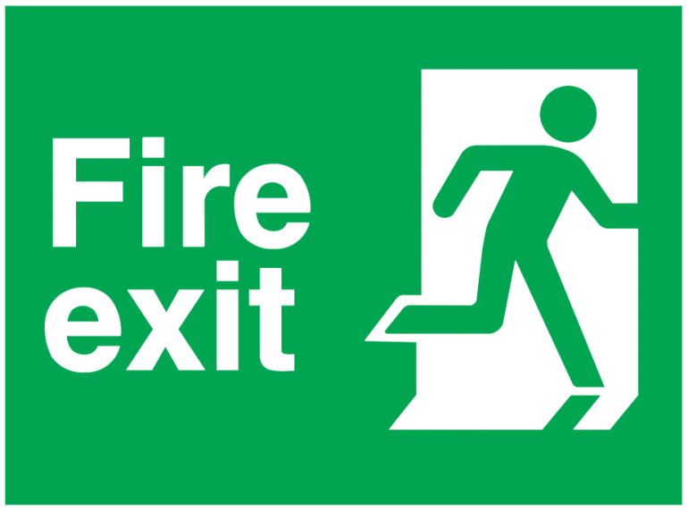 fire exit running man right sign