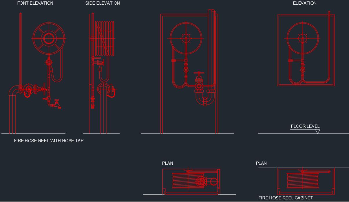 Fire Hose Reel Cabinet Autocad Free Cad Block Symbols