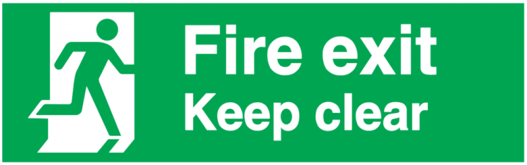 running man fire exit keep clear
