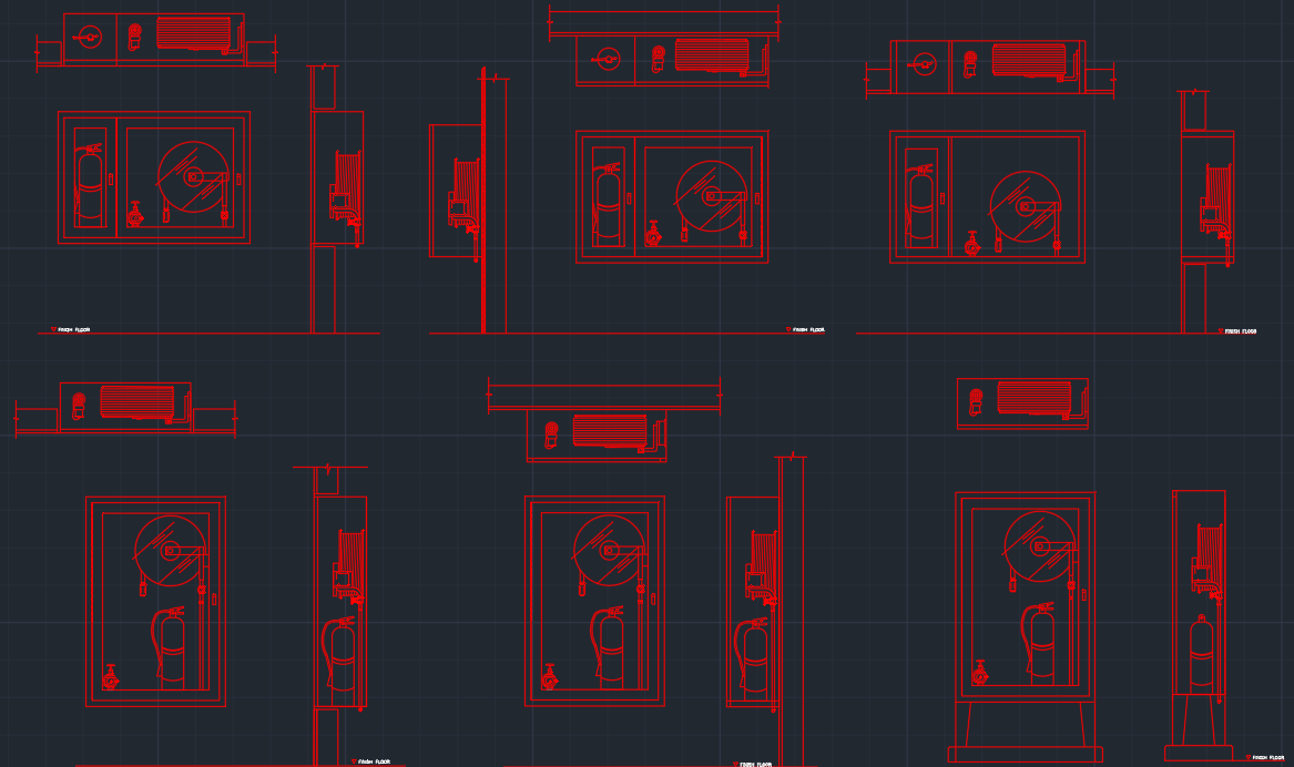 FIRE HOSE CABINET AutoCAD Free CAD Block Symbol And
