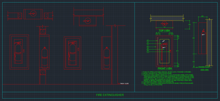 Fire Extinguisher Cabinets Free Cad Block Symbols And