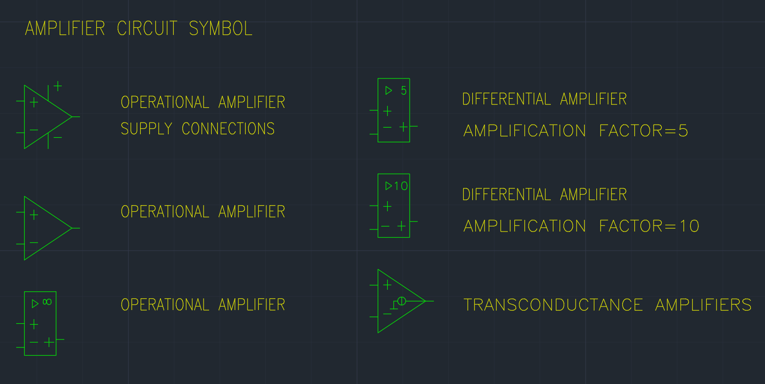 Amplifier Circuit Symbol | | AutoCAD Free CAD Block Symbol And CAD ...