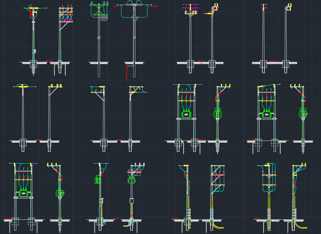 Electric Pole Free CAD Block Symbols And CAD Drawing