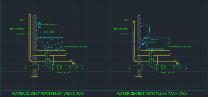 Water Closet Cad Block And Typical Drawing For Designers