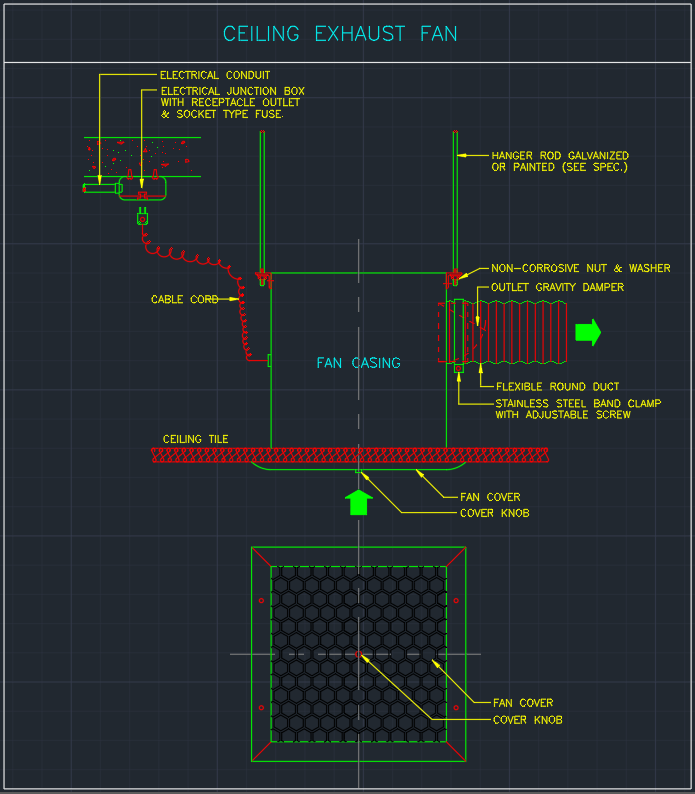 ceiling exhaust fan cad block and