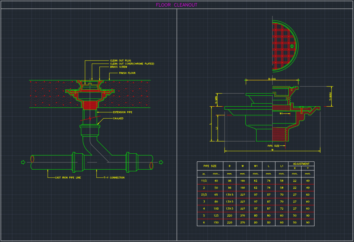 Floor Cleanout Free Cad Block Symbols And Cad Drawing