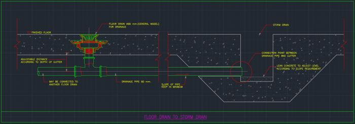 Floor Drain To Storm Drain Autocad Free Cad Block