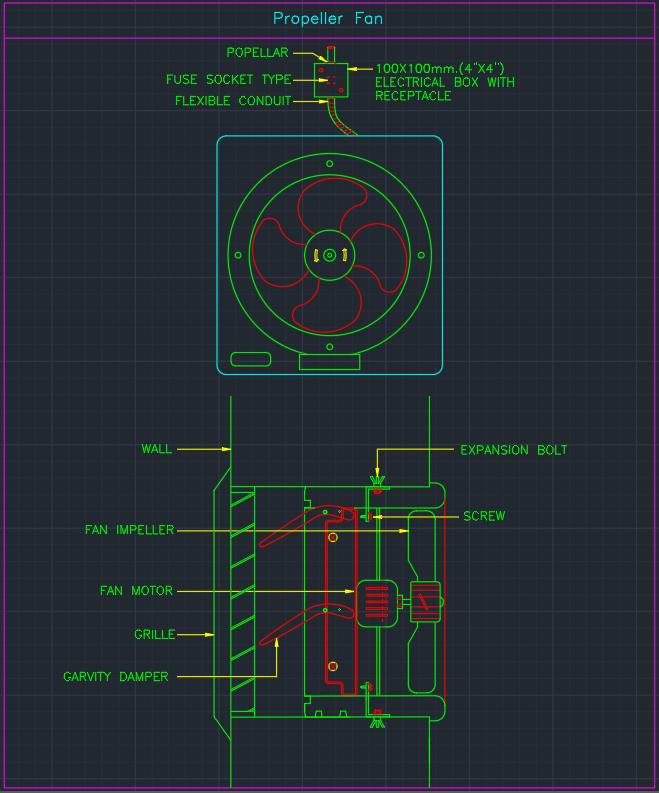 Propeller Fan Autocad Free Cad Block Symbols And Cad Drawing