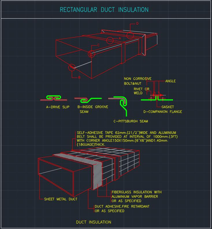 Rectangular Duct Insulation Autocad Free Cad Block