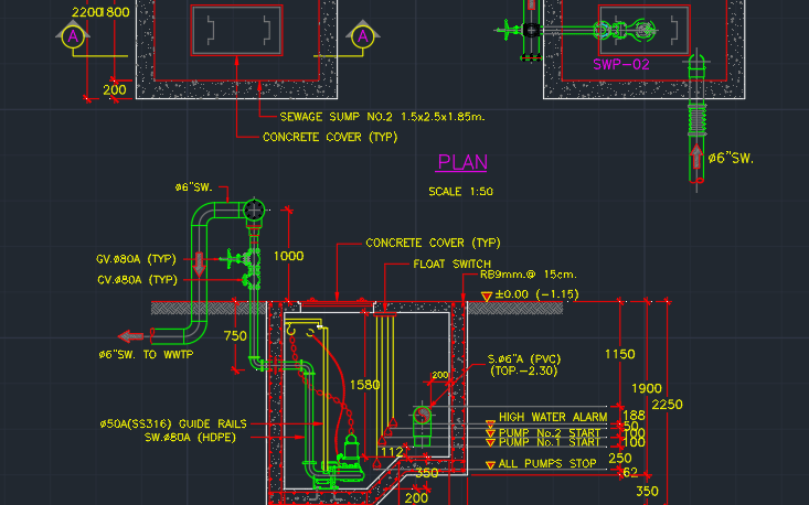 Sump Pump Installation | | CAD Block And Typical Drawing For Designers