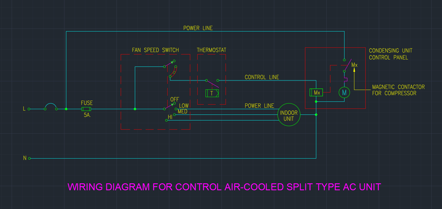 Cad Wiring Diagram Schematic Electronic Controller Likewise Rain Bird Sprinkler Valve For Control Air Cooled Split Type Ac Unit Autocad Rhlinecad