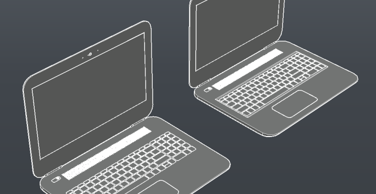 Laptops CAD Block And Typical Drawing