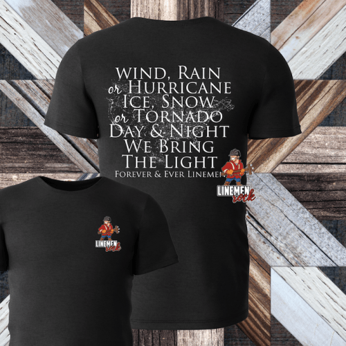 Wind rain hurricane lineman shirt