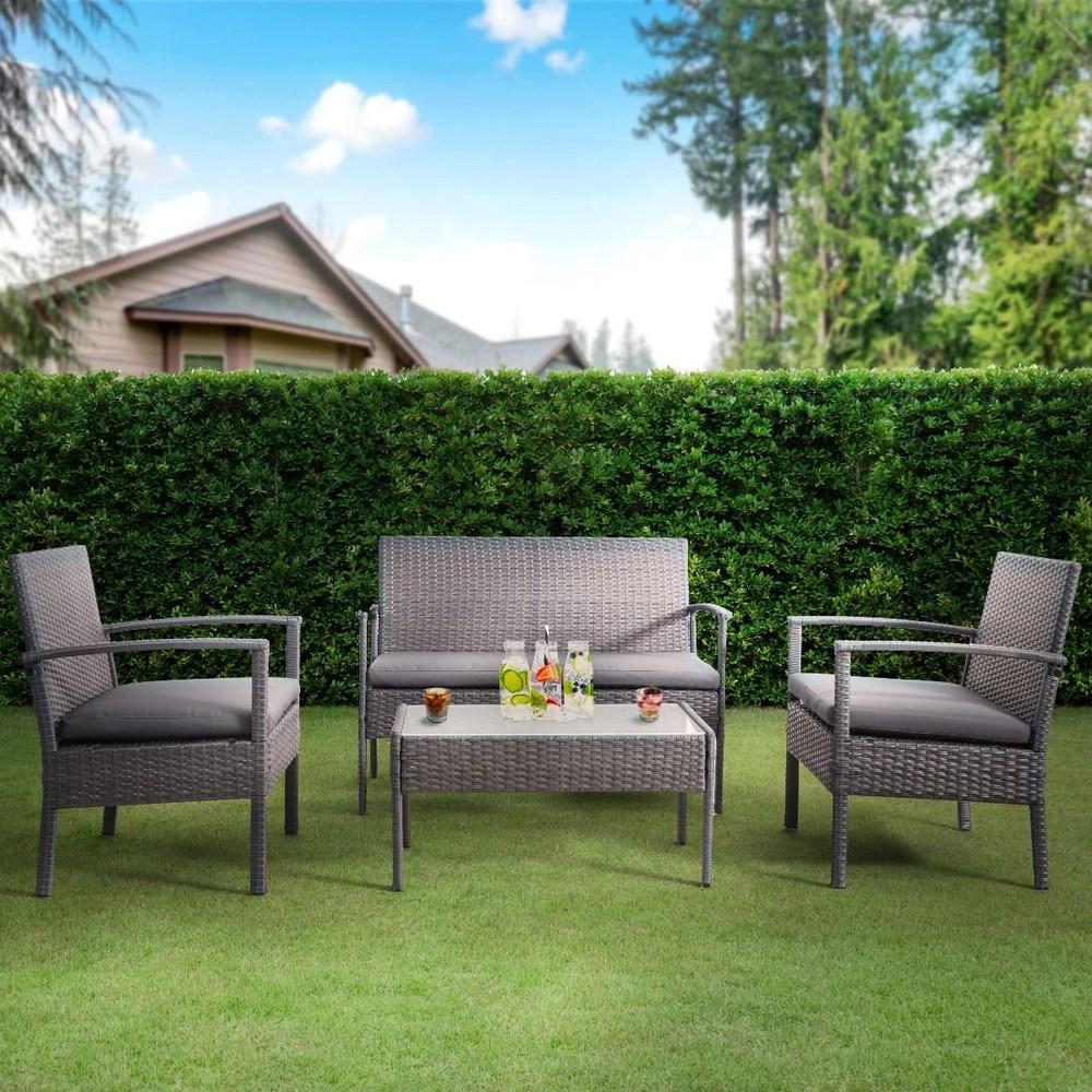 bayia 4 piece patio furniture set grey