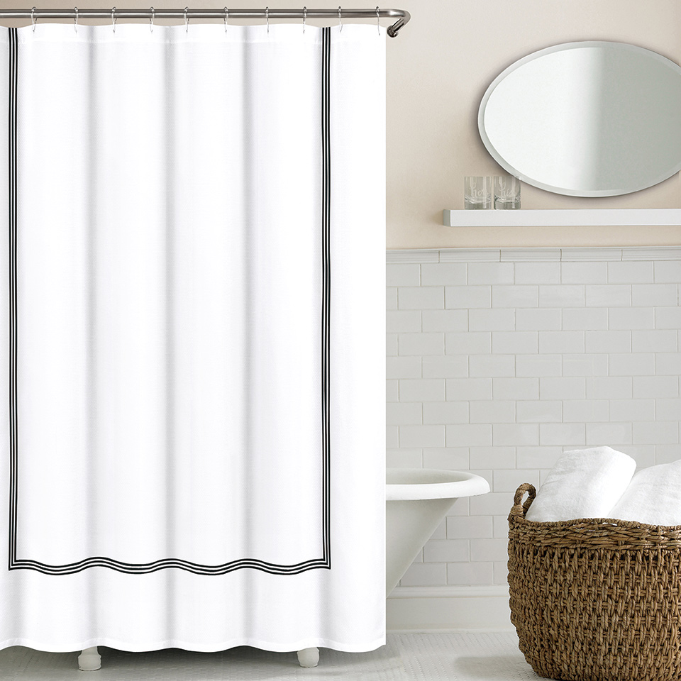 three line hotel shower curtains by