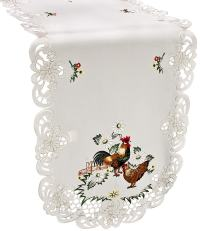 embroidered rooster hen table runner