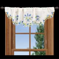 embroidered blue bonnet window valance