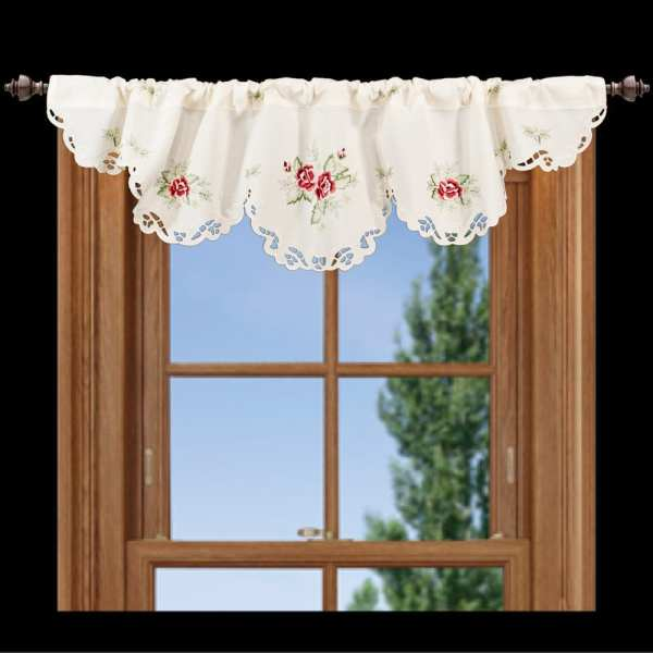 embroidered english rose window valance