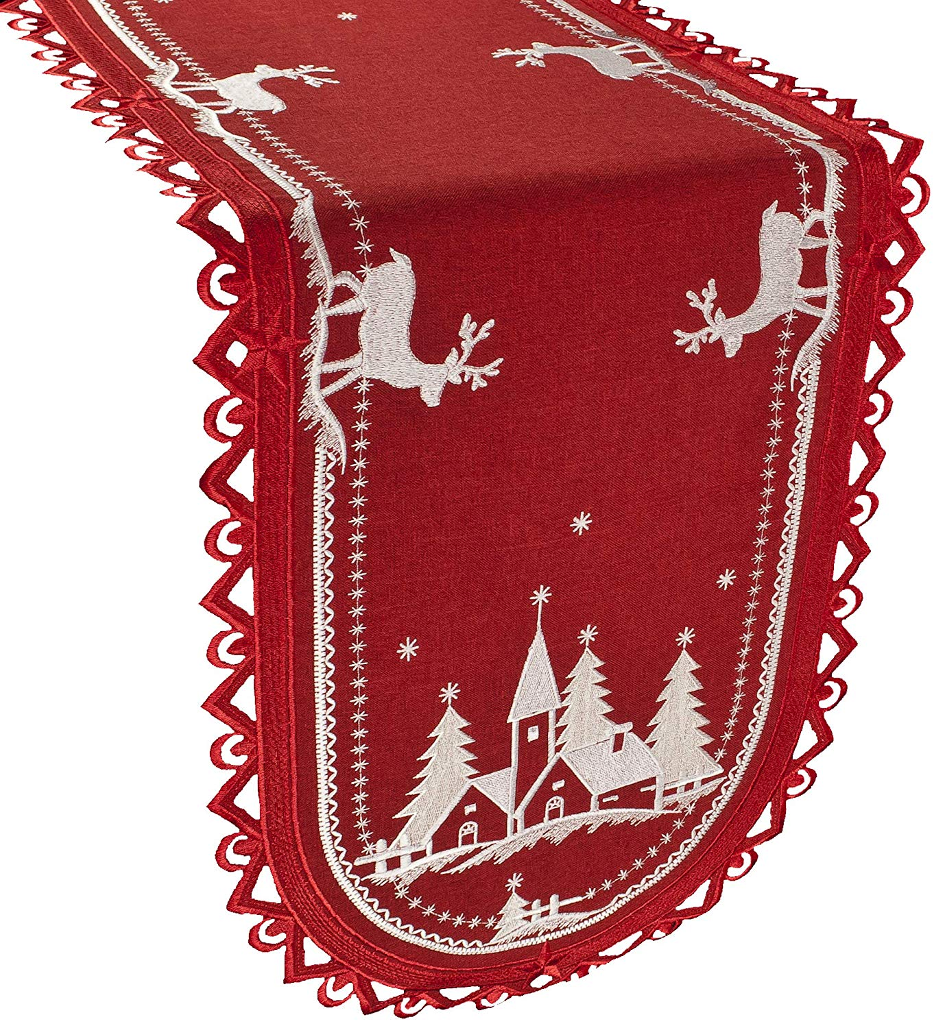embroidered christmas white church deer red table runner