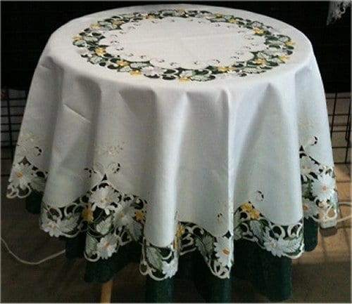embroidered white daisy round tablecloth