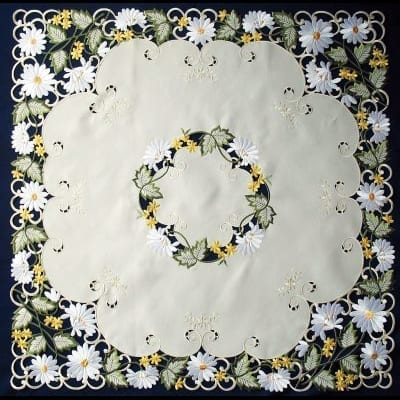 embroidered white daisy table topper