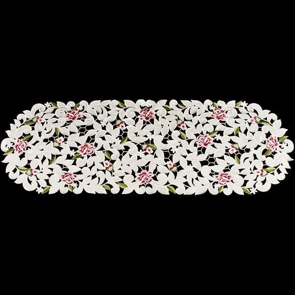 Cottage Rose White Linen Table Runner
