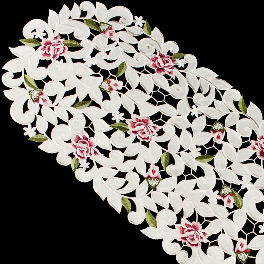 embroidered cut work rose table runner