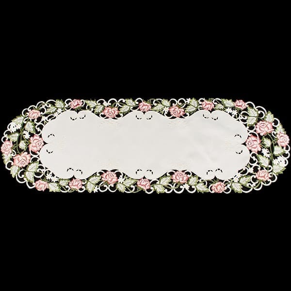 Pink Rose Linen Table Runner