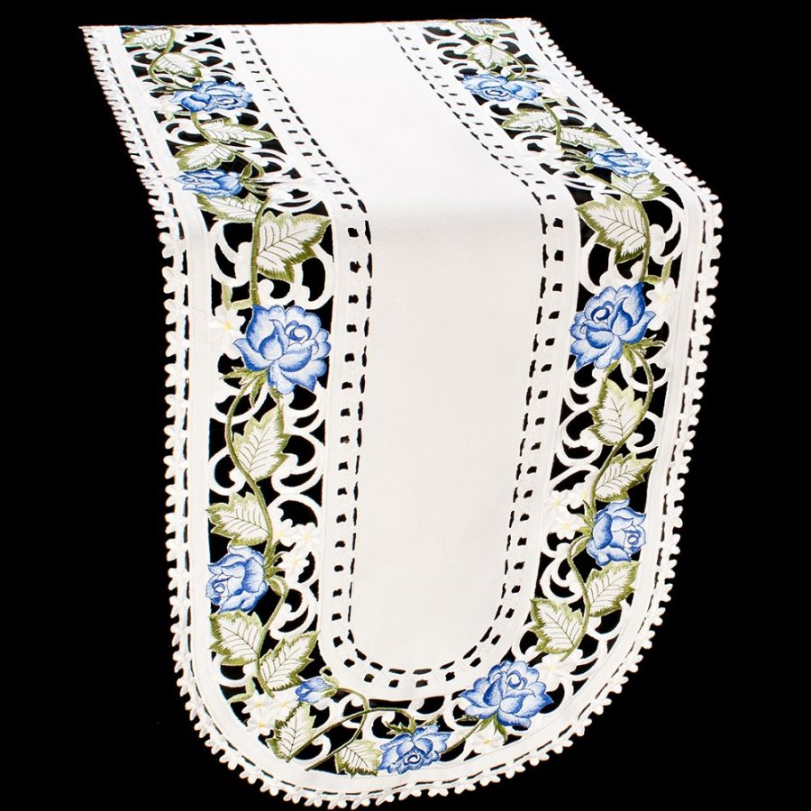 embroidered blue rose table runner