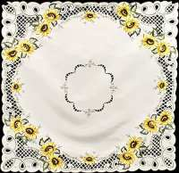 embroidered sunflower table topper