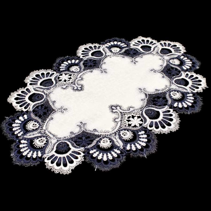 navy & white peacock lace placemat set of 2