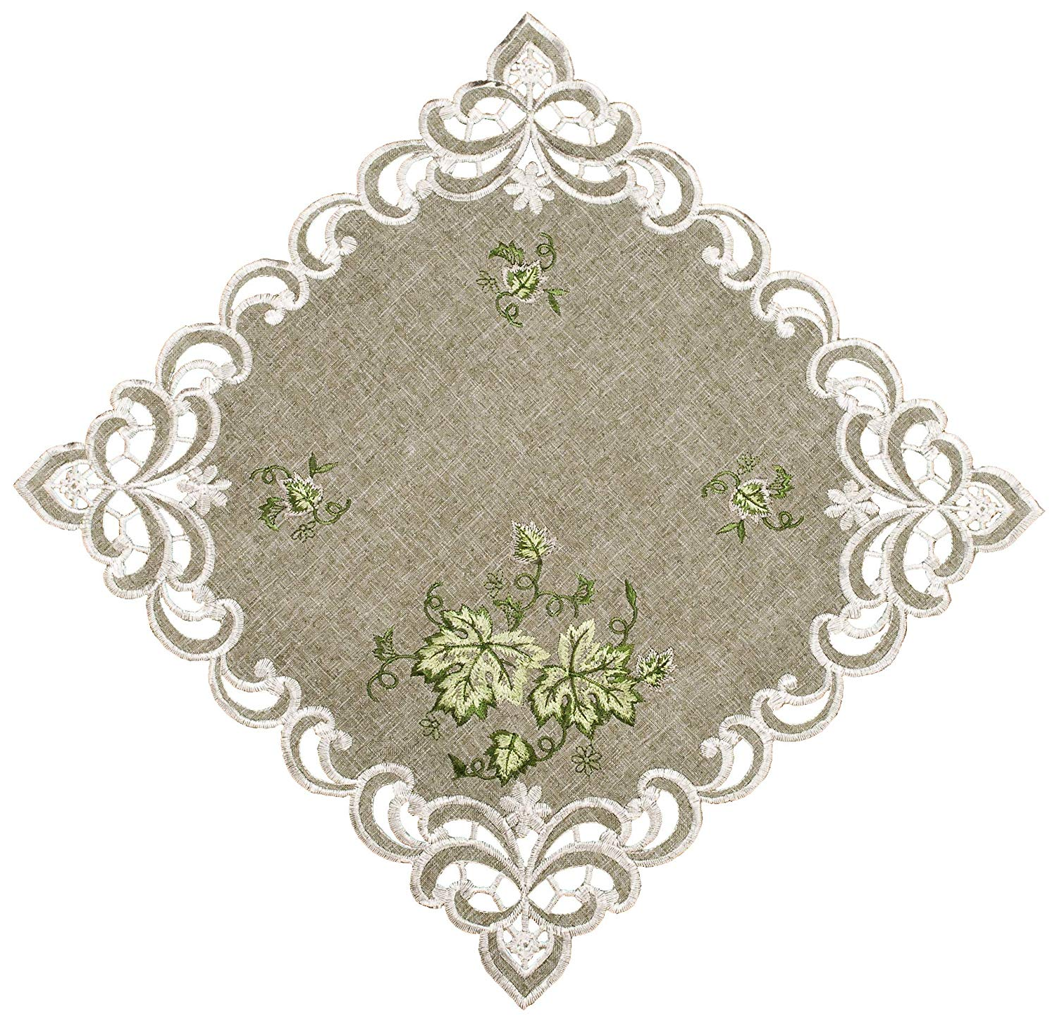 embroidered green leaf square doily