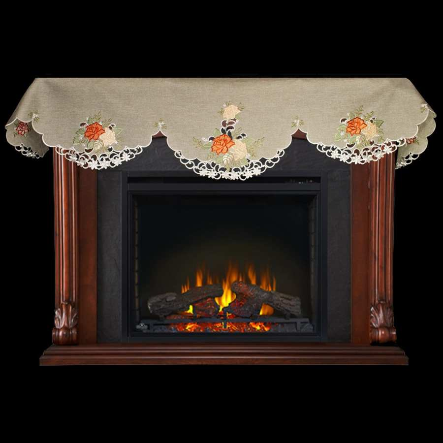 gold & rust rose fireplace mantle scarves