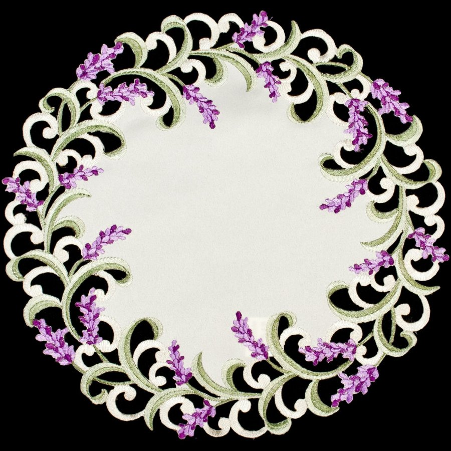 embroidered lavender doily