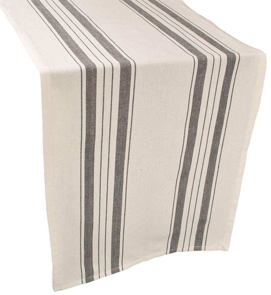 farmhouse table runner in gray and beige