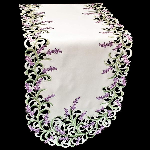 embroidered lavender table runners – 16 x 70 oval