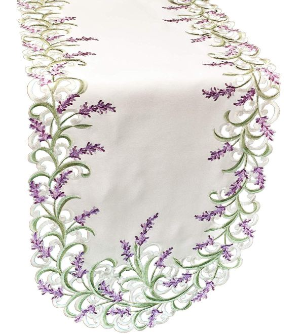 embroidered lavender table runners – 16 x 43 oval