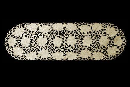 embroidered beige rose table runner