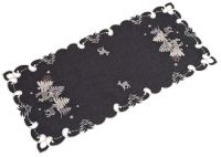 embroidered silver reindeer table runner