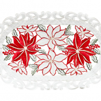 embroidered christmas poinsettia placemat