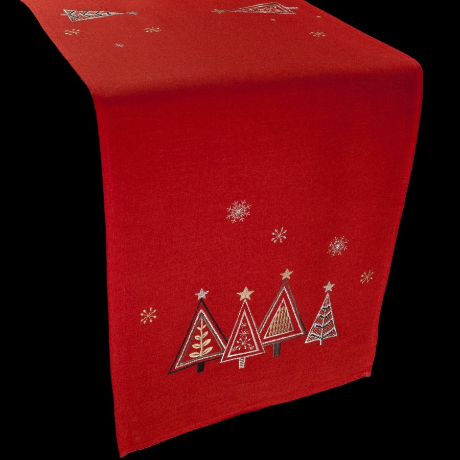 embroidered christmas trees table runner
