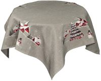 embroidered church and snowman table topper