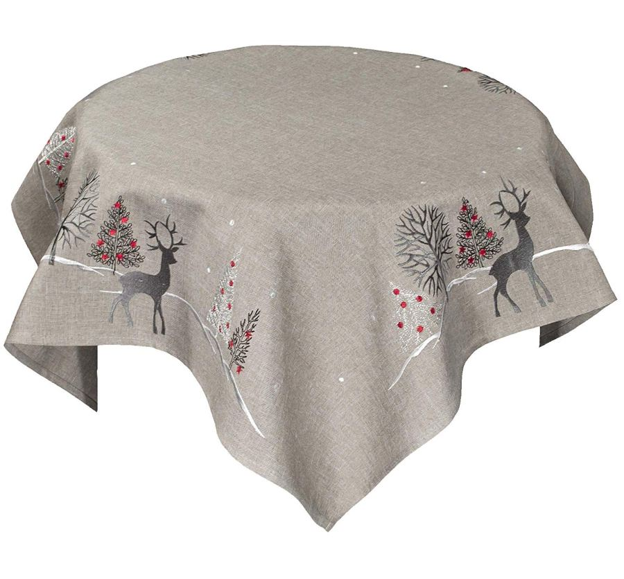 embroidered reindeer on grey table topper