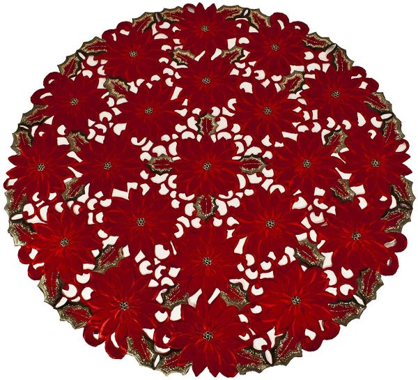 embroidered rich red poinsettia doily