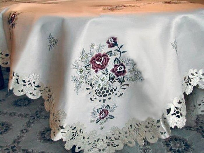 embroidered burgundy rose on ivory satin 67″ round table cloth